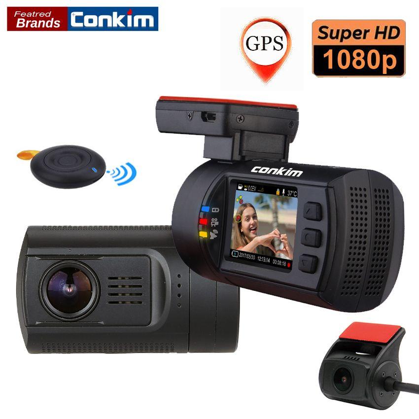 Conkim double objectif voiture tableau de bord caméra GPS DVR avant 1080 P FHD + caméra arrière 1080 P FHD Parking garde Auto registraire Mini 0906 Novatek