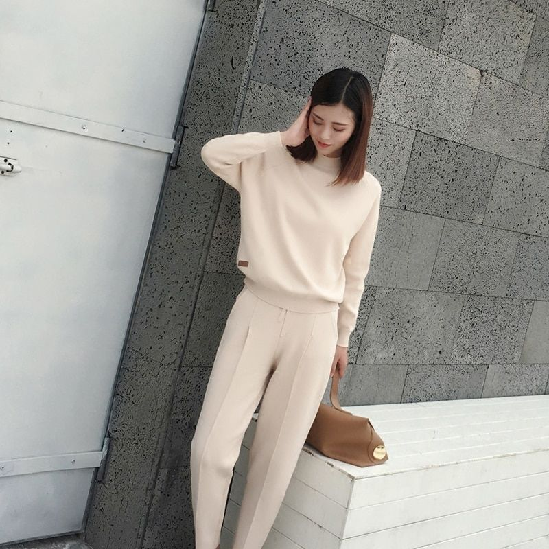 Tracksuits Hot Sale New Arrival Full Spring 2018 Women's Fashion Casual Loose Two-piece Sweater Harem Pants Knit 2 Suit Women