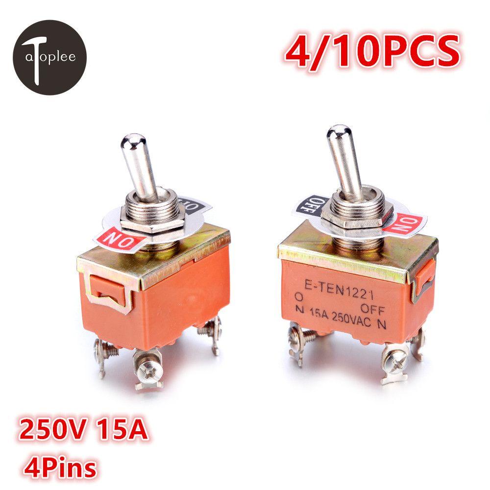 4/10 STÜCKE KN1221 250 V 15A Kippschalter SPST 4 Pins Terminal ON OFF Kippschalter Mini AC oder DC Wasserdicht Touch Schalter