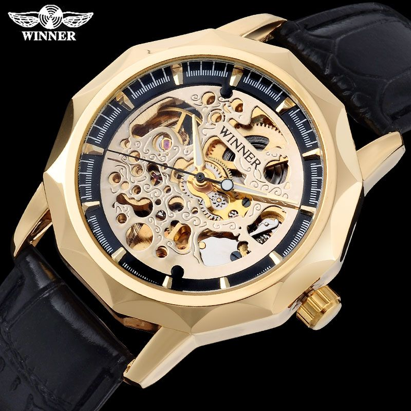 WINNER fashion casual brand men mechanical watches leather strap men's automatic skeleton watches male clock relogio masculino