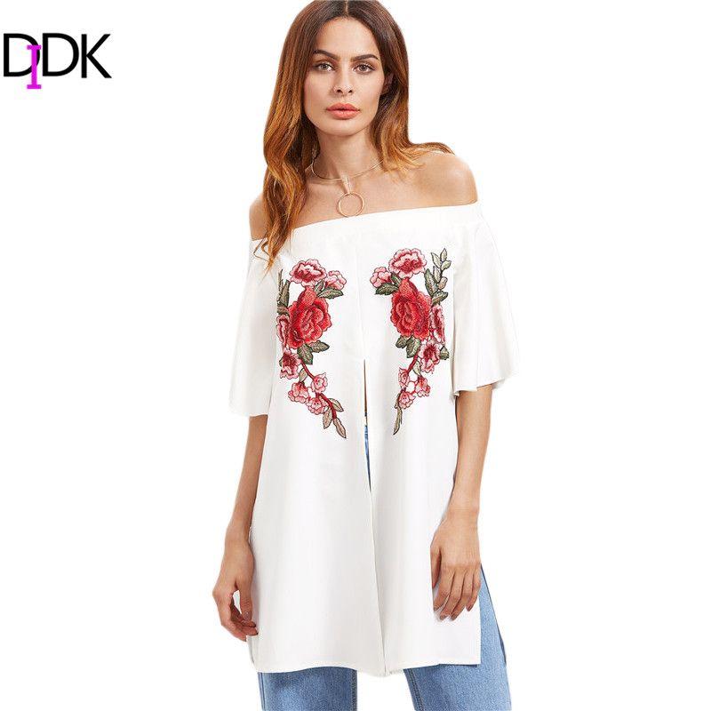 Didk Топ Для женщин Блузки для малышек Лето 2017 г. белый с плеча Половина рукава вышитый цветок аппликация Разделение спереди