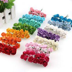 144 piezas de papel Mini Rose flores artificiales para la decoración casera de la boda DIY Pompom guirnalda nupcial flor falsa