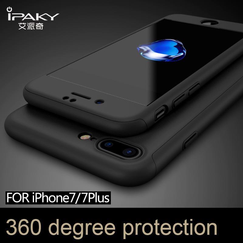 100% marque d'origine IPAKY protection complète pour iphone 7 4,7 ''pour iphone 7 plus 5,5'' avec film en verre trempé