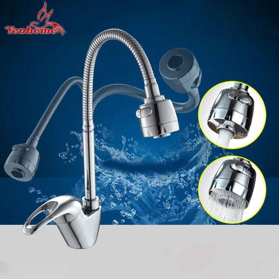 360 degrés rotation vrai laiton robinet de cuisine mélangeur robinet eau froide et chaude cuisine robinet lavabo lavage monotrou robinet d'eau