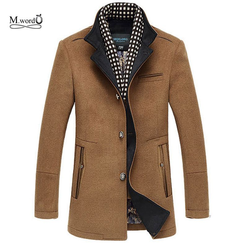 2017 New Winter Men Splice Woolen Jacket plus thick outerwear Mens Middle long jacket Coat Winter warm Overcoat