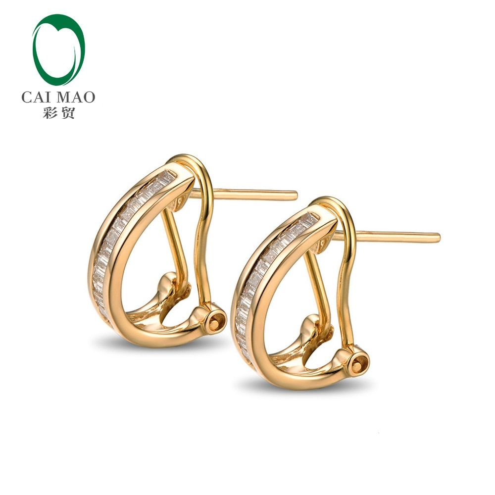 Caimao Jewelry Beautiful 14K Yellow Gold & 0.31ct Diamond Engagement Earrings