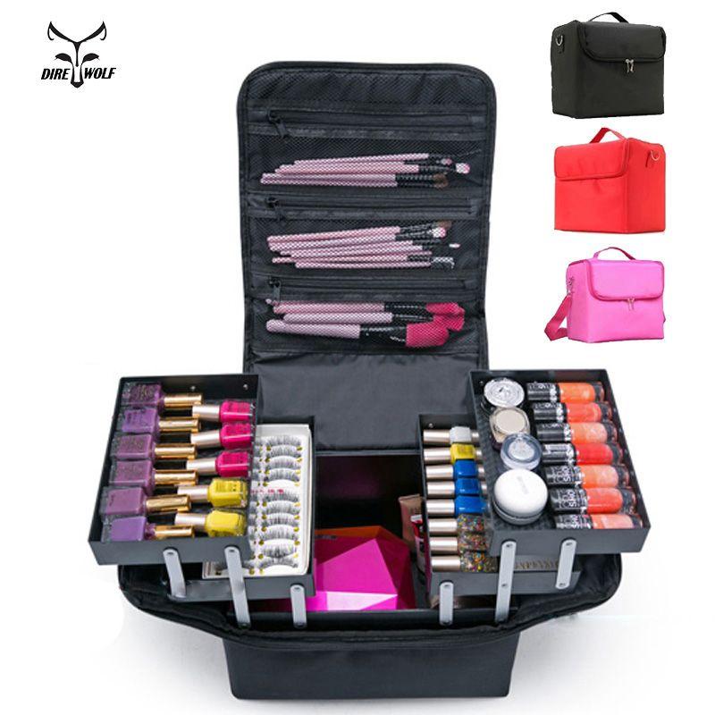 Fashion Women Makeup Organizer Large Capacity Multilayer Clapboard Cosmetic Bag Case Beauty Salon Tattoos Nail Art Tool Bin