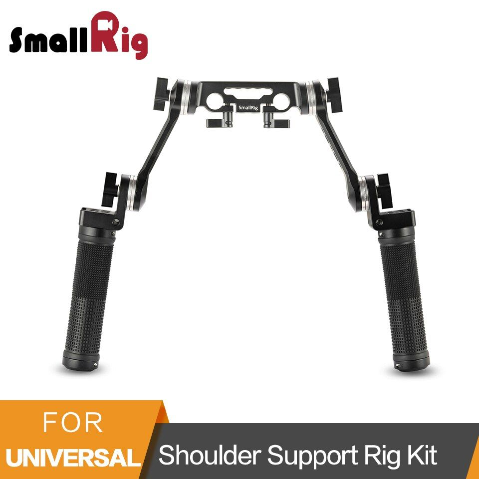 SmallRig Rubber Shoulder Support Rig Kit Arri Rosette Rig Shoulder Mount Stabilizer Handle Kit with 15mm Rod Clamp Mount - 2002