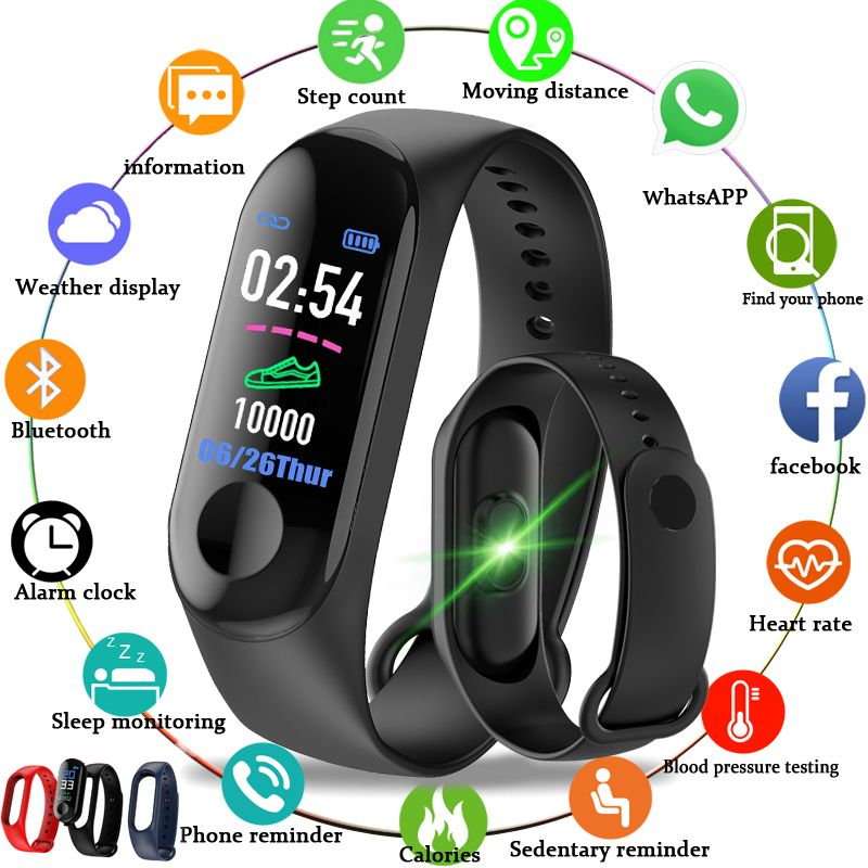 M3 Color IPS Screen Smart Sport Fitness Bracelet Blood Pressure Activity Tracker Smart Wristband For Men Women Watches