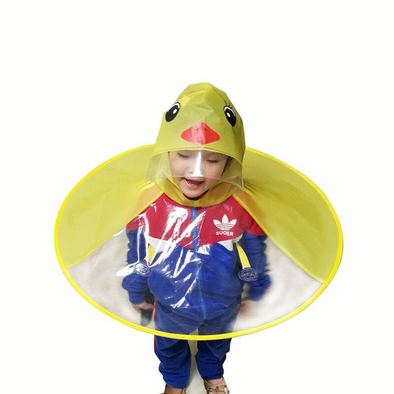 Yellow Duck Cosplay Creative design Gifts Funny Rain cap Umbrella Child Kid Adult <font><b>Folding</b></font> Umbrella Fishing Raincoat Cloak Hat