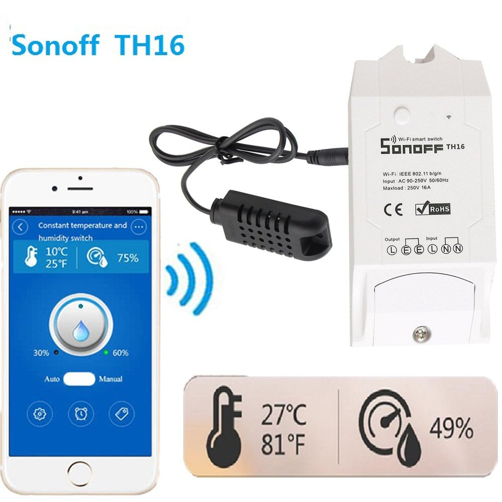 sonoff Smart home TH16 <font><b>Switch</b></font> test Temperature Humidity Sensor Intelligent automation module