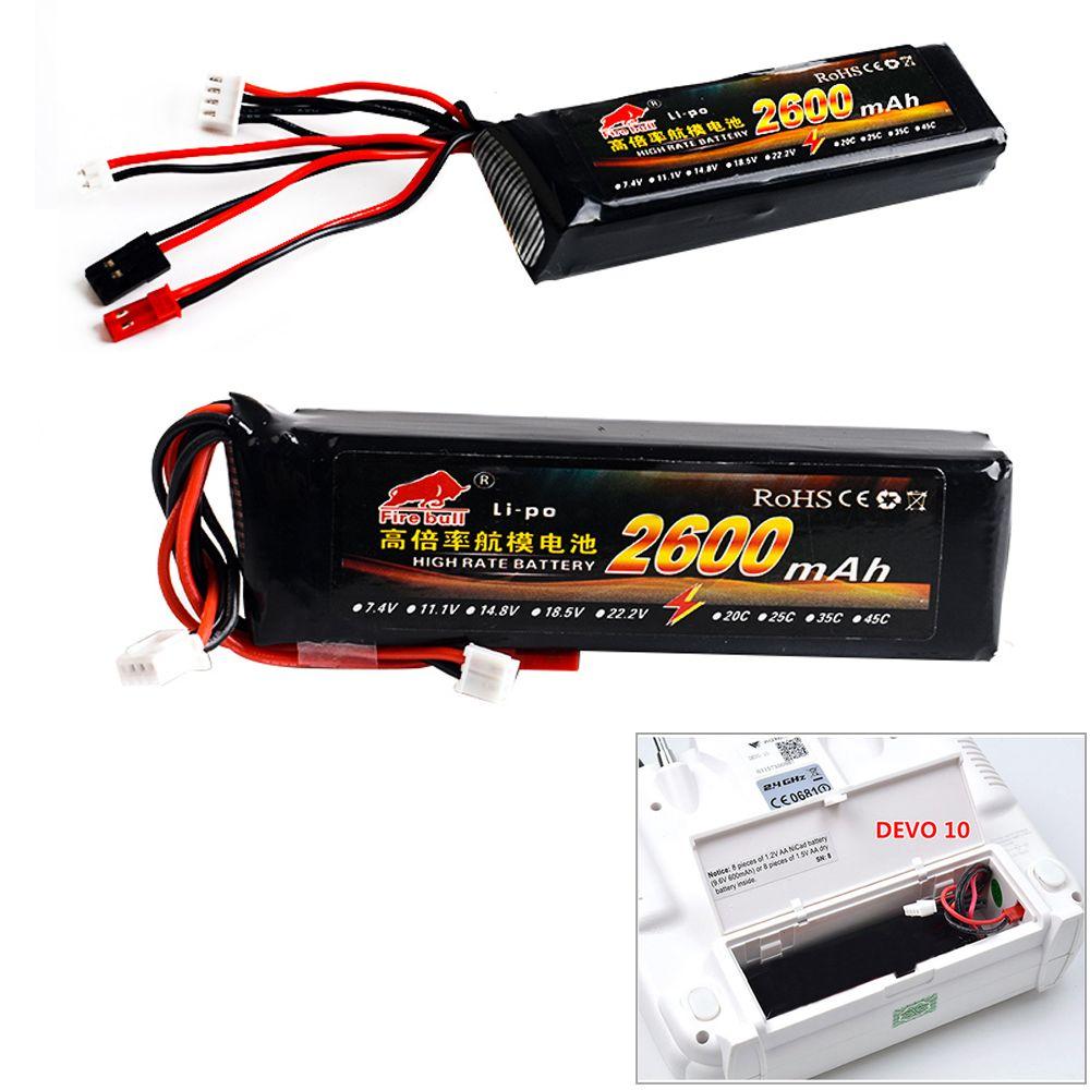 1pcs 11.1V 2600mAh 8C 3S Li-Poly RC Battery for Walkera DEVO 7 DEVO 10 DEVO12E F12E WFLY9 RadioLink AT9 AT10 Transmitter