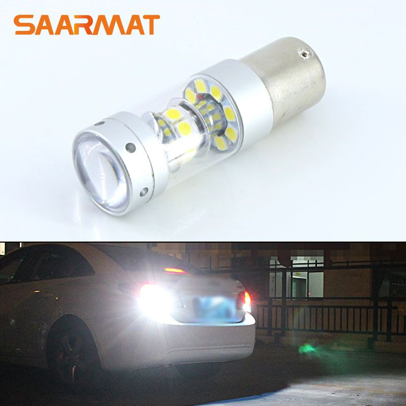 1Pcs 1156 White No Error Led Bulb  140W 1400LM For Tail Bulb Reverse Lamp Daytime Running Lights For AUDI BMW VW Mercedes-Ben