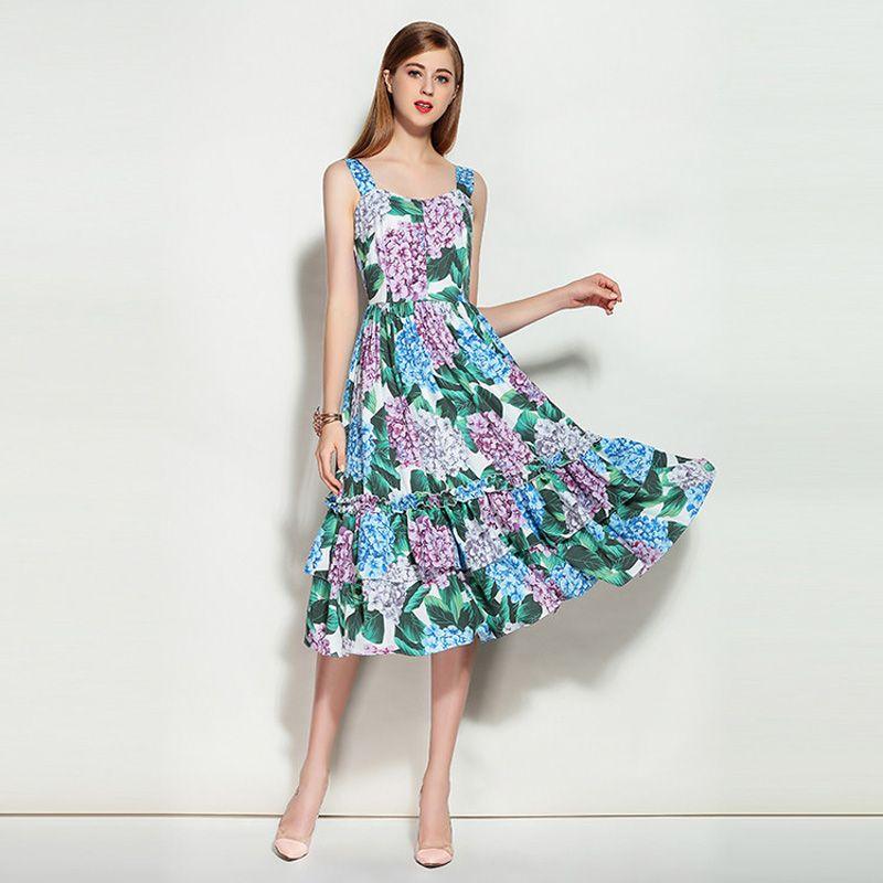 2018 Arrival Summer Newest Spaghtti Strap Sleeveless Cotton Hydrangea Flowers Print Elegant Knee-Length Expansion Dress Women