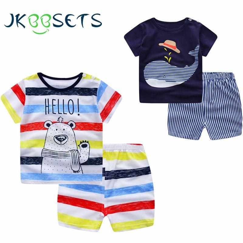 Для маленьких мальчиков Одежда Лето 2017 новорожденных Для маленьких мальчиков комплект одежды для маленьких девочек хлопковый Детский кост...
