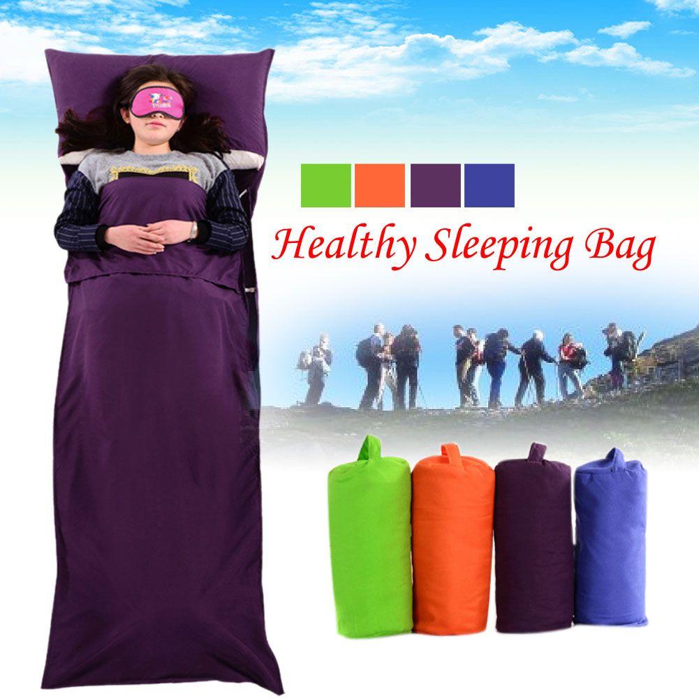 Outdoor Portable Ultralight Healthy Splicing Envelope Sleeping Bag Liner Cotton Camping Hiking Travel Sleep Bag