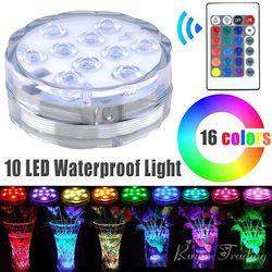 Control remoto 10 Led RGB luz sumergible con pilas noche subacuática lámpara vaso Bowl al aire libre Garden Party Decoration