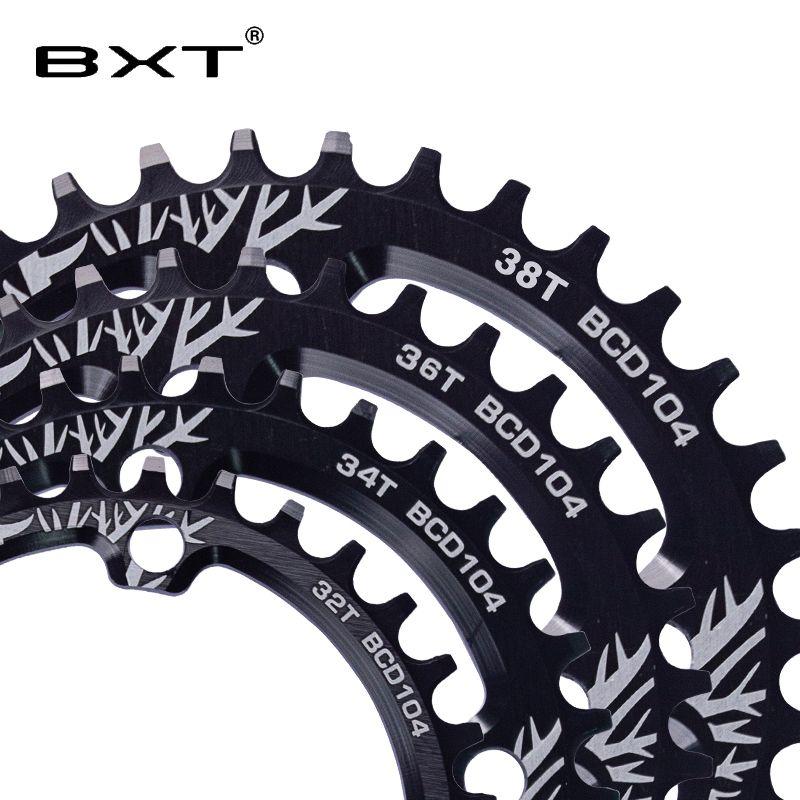 BXT manivelle de vélo ronde 104BCD 32 T/34 T/36 T/38 T plateau étroit large ultraléger vtt roue de chaîne cercle pédalier plaque