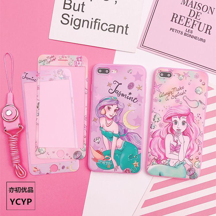 Für iphone 8/7 plus Alice fall & gehärtetem glas bildschirm film für iphone 7 8 plus/6 6 s plus telefon fall für iphone X + seil