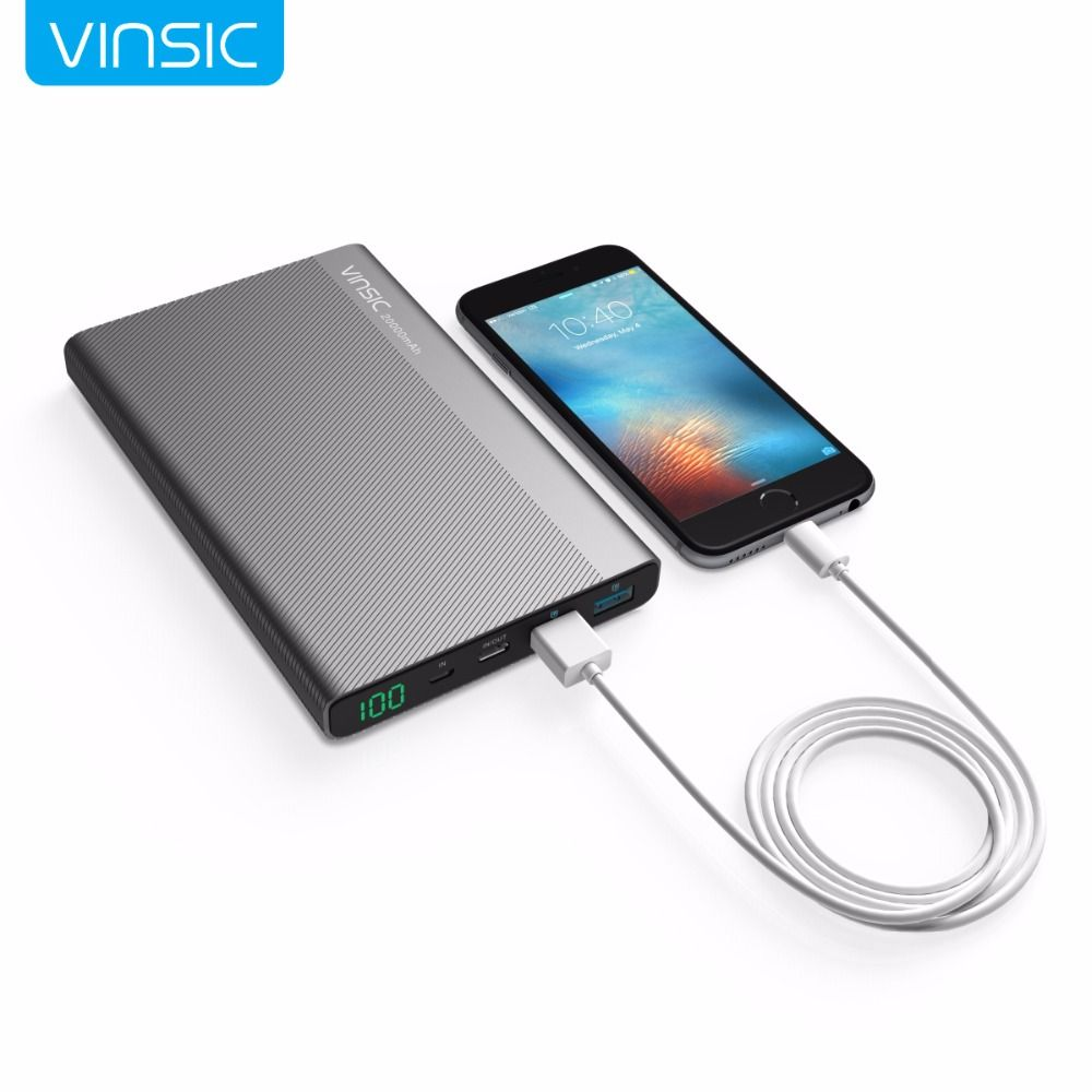 Vinsic 20000mAh 3A Type-C Fast Charge Power Bank Dual Smart USB Outputs Portable External Battery Charger For Samsung HUAWEI