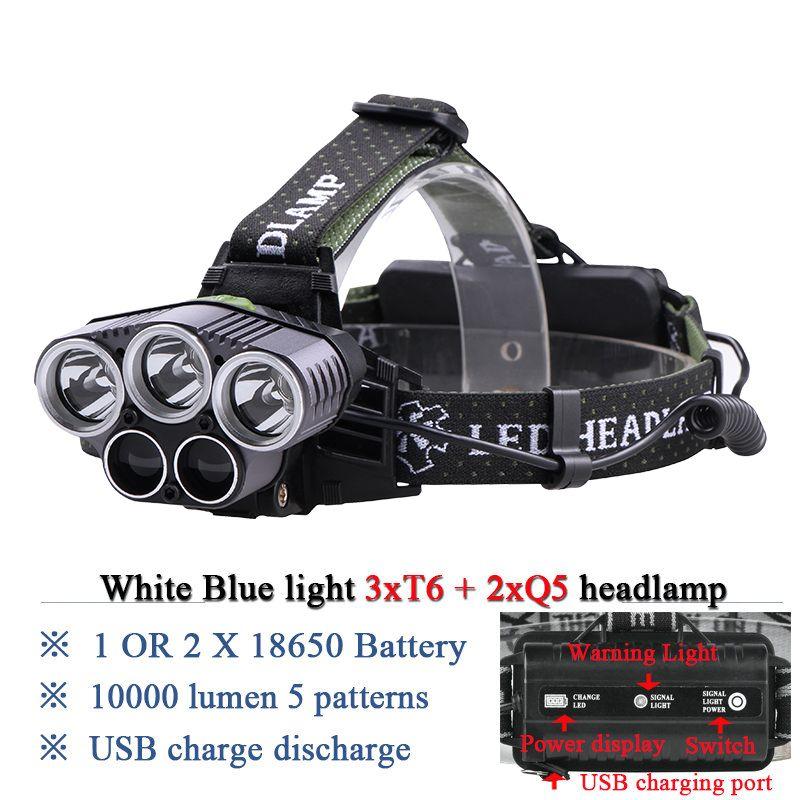 Blue light white USB 5 led headlamp head lamp headlight CREEXM L T6 Q5 15000 <font><b>lumens</b></font> powerful led flashlight head torch lamp