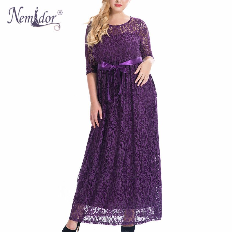 Nemidor High Quality Women Elegant O-neck Belted Party Lace Dress Plus Size 7XL 8XL 9XL 3/4 Sleeve Vintage Long Maxi Dress