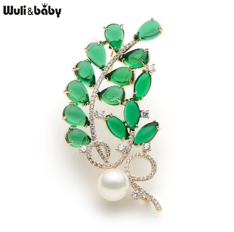 Cristal de Cobre Verde Semi-Piedra preciosa de la Flor Broches Para Las Mujeres Perla Simulada Hojas Broche Broche Del Banquete de Boda