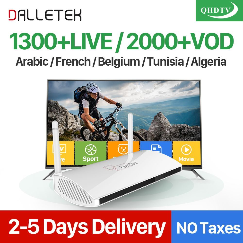 Dalletektv Arabic IPTV Box Leadcool Smart Android TV Box 1 Year QHDTV IPTV Subscription 1300 Channels Europe UK French IPTV Box