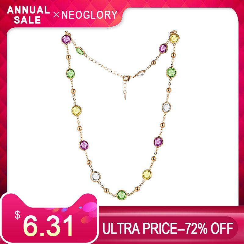 Neoglory FAIT AVEC SWAROVSKI ELEMENTS Cristal Coloré Perles Rondes Long Charm Collier Classique Deux Utilise Pour Lady Robe Partie
