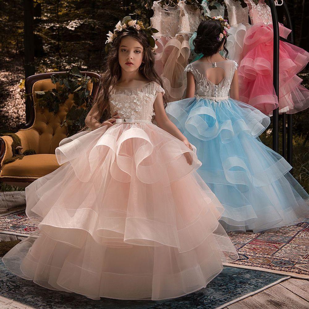 New Arrival Little Girls Luxury Lace Applique Holy First Communion Dresses for Girls <font><b>Floor</b></font> Length Open Back Girls Princess Dress