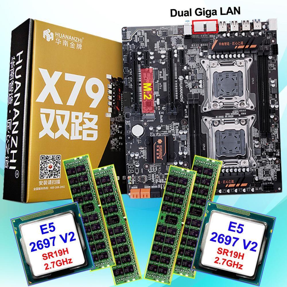 Rabatt computer hardware HUANAN ZHI dual X79 LGA2011 motherboard mit M.2 slot CPU Intel Xeon E5 2697V2 2,7 GHz RAM 64G (4*16G)