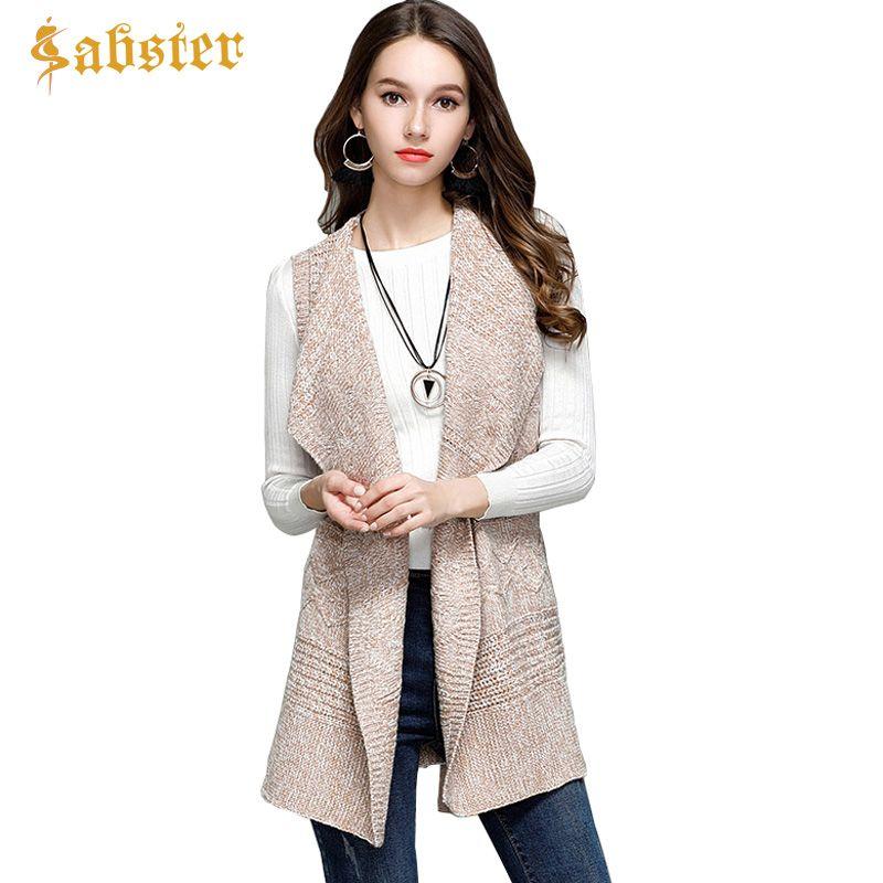 New Fashion Women's Clothing Knit Vest Women Long Cardigans Sweater Turn-down Collar Belt Sleeveless Coat Tops Outwear