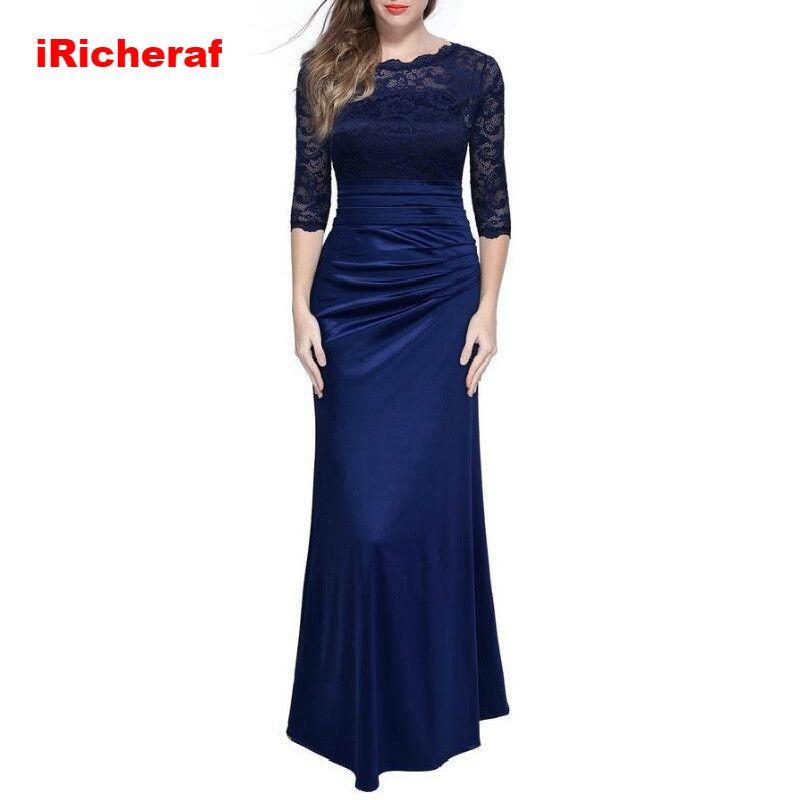 IRicheraf élégant robe de grande taille femmes solide dentelle o-cou longue Vintage moulante robe de soirée robes 3XL rouge bleu Maxi robes
