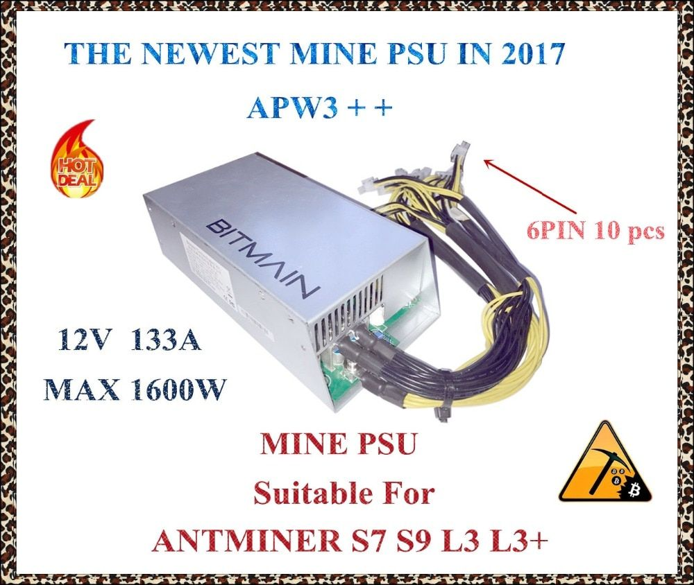 ANTMINER MINE power supply APW3++ (new) 12V 133A MAX 1600W suitable for ANTMINER S7 S9 L3+ D3 A3 Baikal X10 Giant B .YHUNHUI