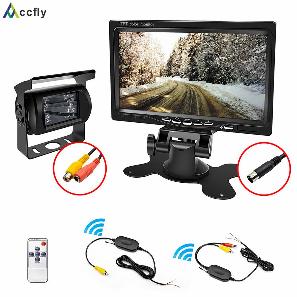 Accfly 12V 24V car reverse reversing rear view camera Wireless with Monitor for trucks bus excavator Caravan van Trailer