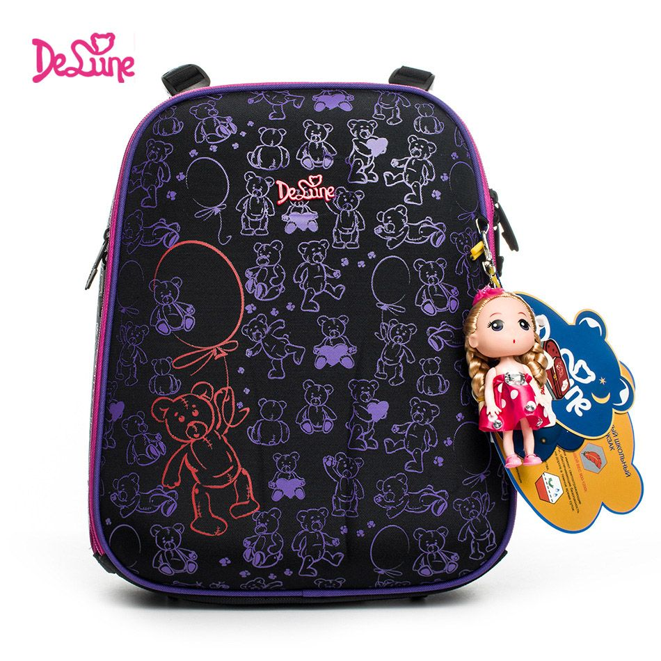 Authentic Delune 2018 new 3D cartoon children <font><b>school</b></font> bags for girls printing backpack children Customized design child schoolbag