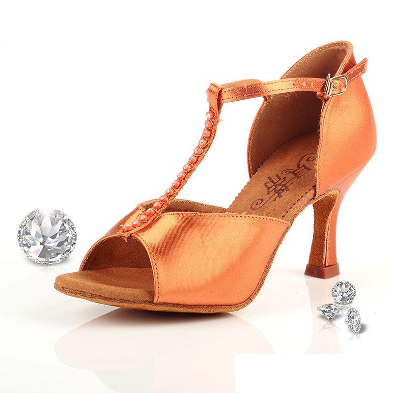 Ballroom Dance Shoes Woman Brand Latin Aerobics Shoes Adult Sports Upscale Flash Satin Stretch For Female Social Dancing BD 222