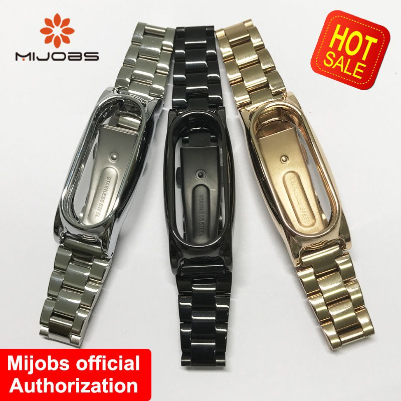 Mijobs Wristband Strap For Xiaomi Mi Band 2 Bracelet Metal Stainless Steel Wrist Smart Band Replace For Mi Band 2 Strap