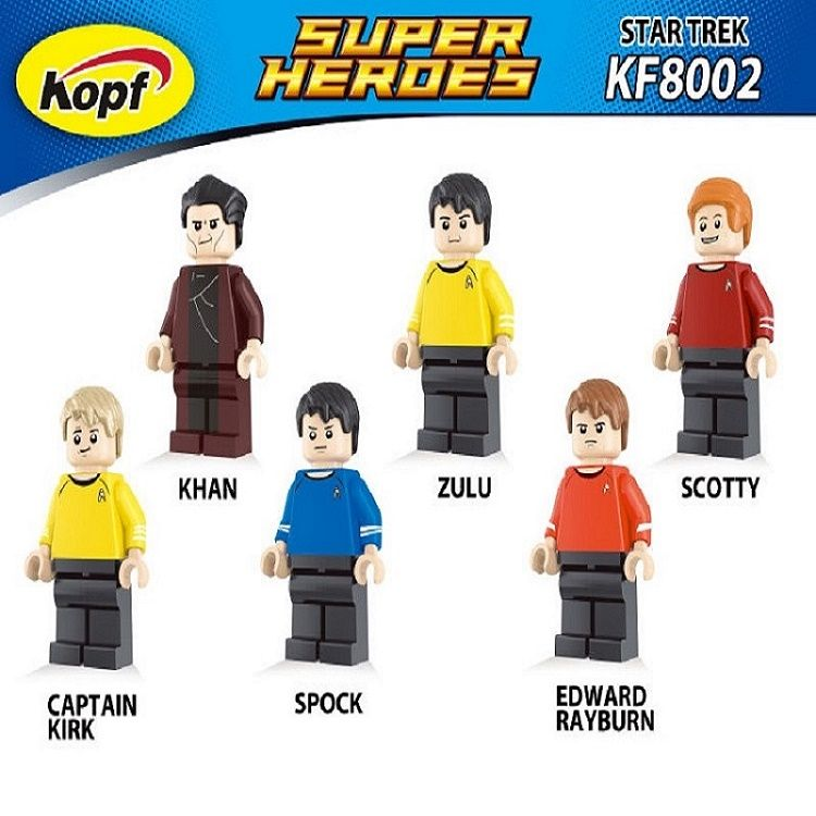 Super Heroes Star Trek Captain Kirk Scotty Spock Khan Zulu Eoward Tayburn Bricks Action Building Blocks Toys for children KF8002