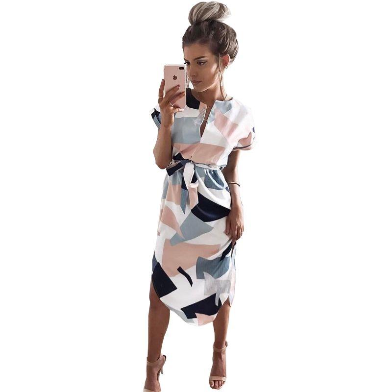 Geometric Print Dress Women V <font><b>Neck</b></font> Short Sleeve 2017 Woman Summer Dresses Casual Sashes Robe Midi Dress Ladies Elegant Vestidos