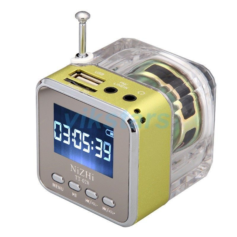 Cristal éclairage Mini Haut-Parleur Numérique Musique portable radio Micro SD/TF USB Disque mp3 fm radio Écran lcd haut-parleur radio-réveil 028