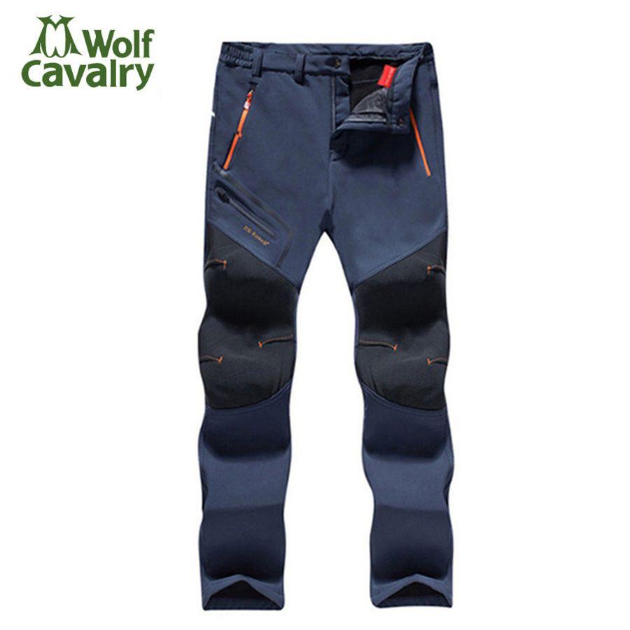 Fleece Men Women <font><b>Hiking</b></font> Pants Outdoor Softshell pant Winter Trousers Waterproof Windproof Thermal for Camping Ski Climbing