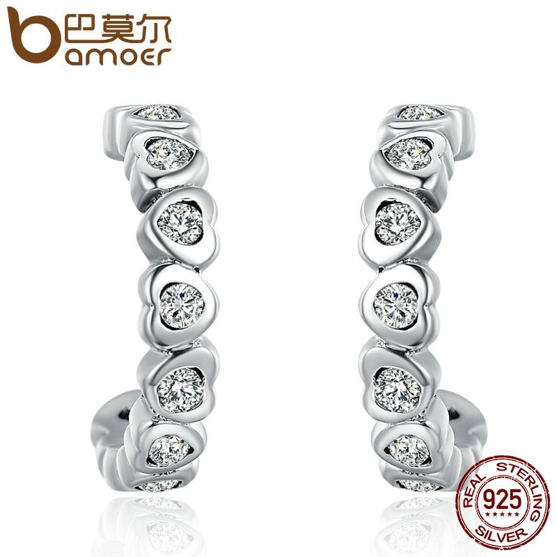BAMOER Authentic 925 Sterling Silver Trendy Dazzling CZ Stackable Heart Drop Earrings for Women Sterling Silver Jewelry SCE100
