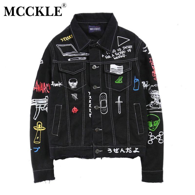 MCCKLE 2017autumn Mens hi-street hip-hop Denim Jacket Personality graffiti tassel black blue Jackets Man Veste Homme