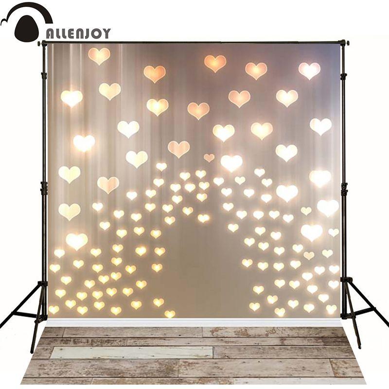 Fond de photo Allenjoy coeurs dorés amour lumières planche de bois pour nouveau-né toile de fond pour la photographie de mariage photocall vinyle