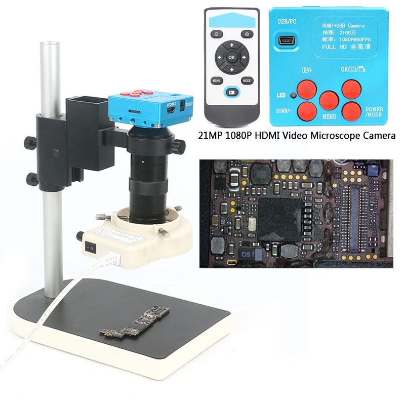21MP 1080P 60FPS 2K TF Video Recorder HDMI USB Industrial Electronic Video Microscope Camera 130X C-Mount Lens For Lab PCB Solde