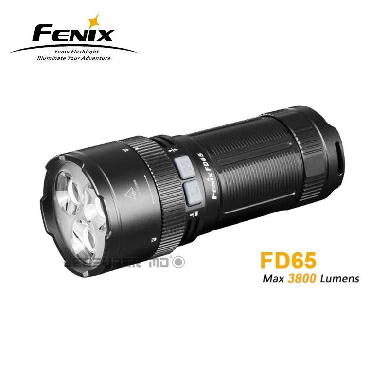 Neue ankunft Fenix FD65 Cree XHP35 HALLO LEDs 3800 Lumen hochleistungs Rotary Fokussierung Taschenlampe mit Scheinwerfer & Flutlicht