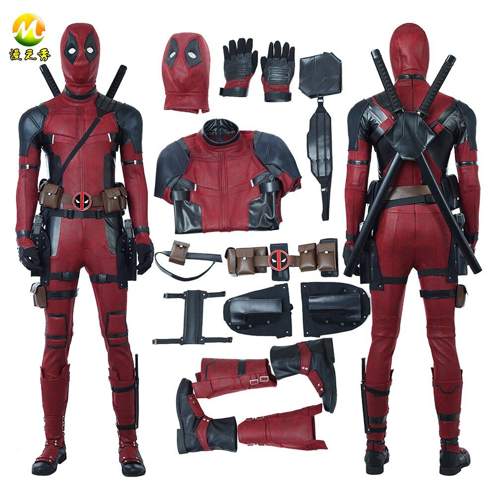 Newest Deadpool 2 Deadpool Cosplay Costume Wade Wilson Costume Red Deadpool PU Leather Cosplay Jumpsuit For Halloween Party