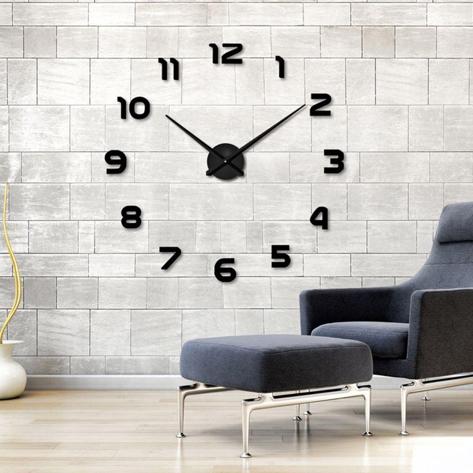 Offre spéciale 3D bricolage Horloge Murale Design moderne Saat Reloj De Pared métal Art Horloge salon acrylique miroir montre Horloge Murale