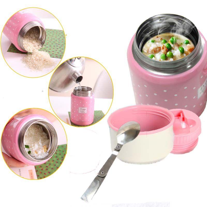 350 ml thermos brosse cadeau inox cuillère pliante thermique boîte à lunch enfants termos coloré pot à soupe portable sac récipient de nourriture